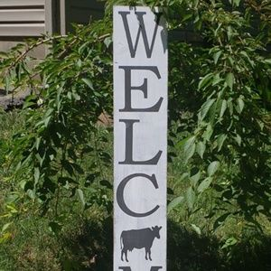 """BRAND NEW Cute NEW 4FT  """"Cow"""" Welcome Porch Sign"""